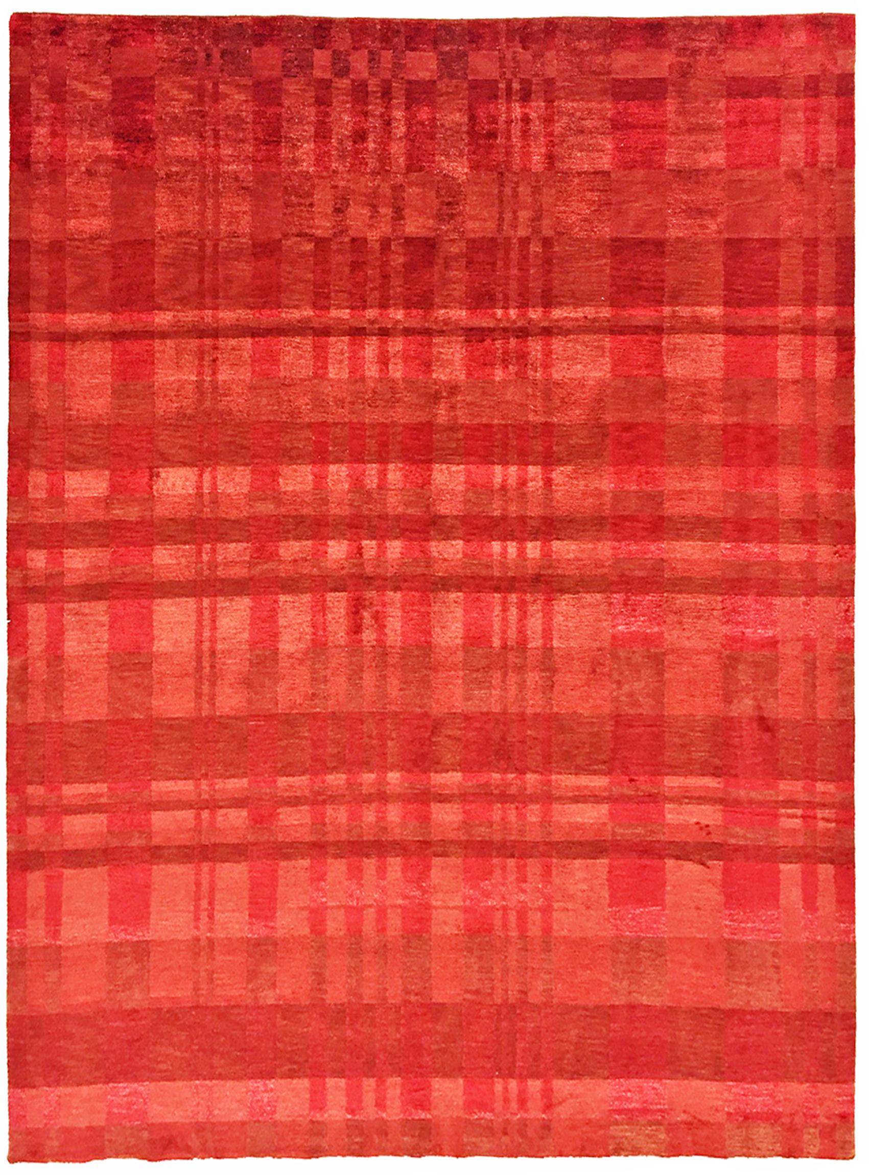 100-line Wool and Silk Tibetan Rug 5-8 x 7-8