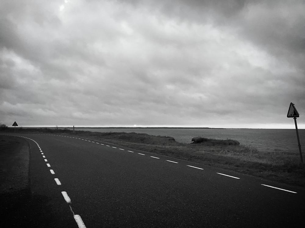 The seaside road leading out of Paldiski, Estonia.