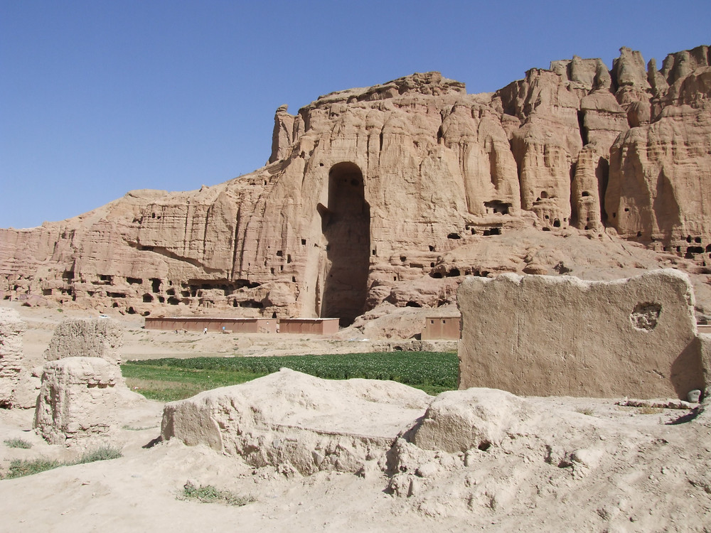 Destroyed in an iconoclastic rage. The large Bamiyan Buddha niche, where the giant Buddha was destroyed by the Taliban.