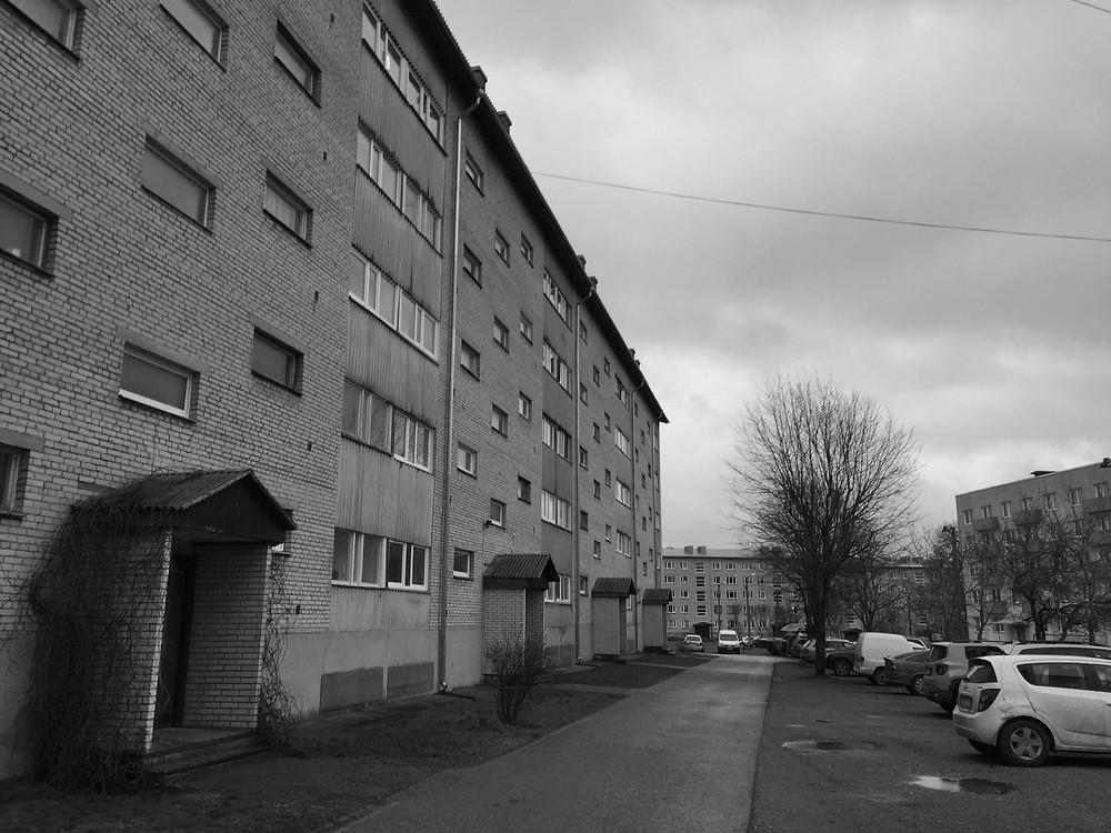 A Soviet era housing block in the Estonian town of Paldiski.