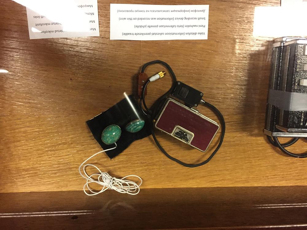 KGB spy cufflinks, used to listen to guests at the Hotel Viru, in Tallinn, Estonia.