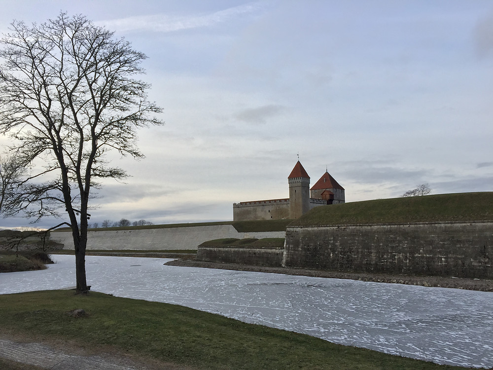 Kuressaare Castle, its moat frozen solid in the harsh Baltic winter.