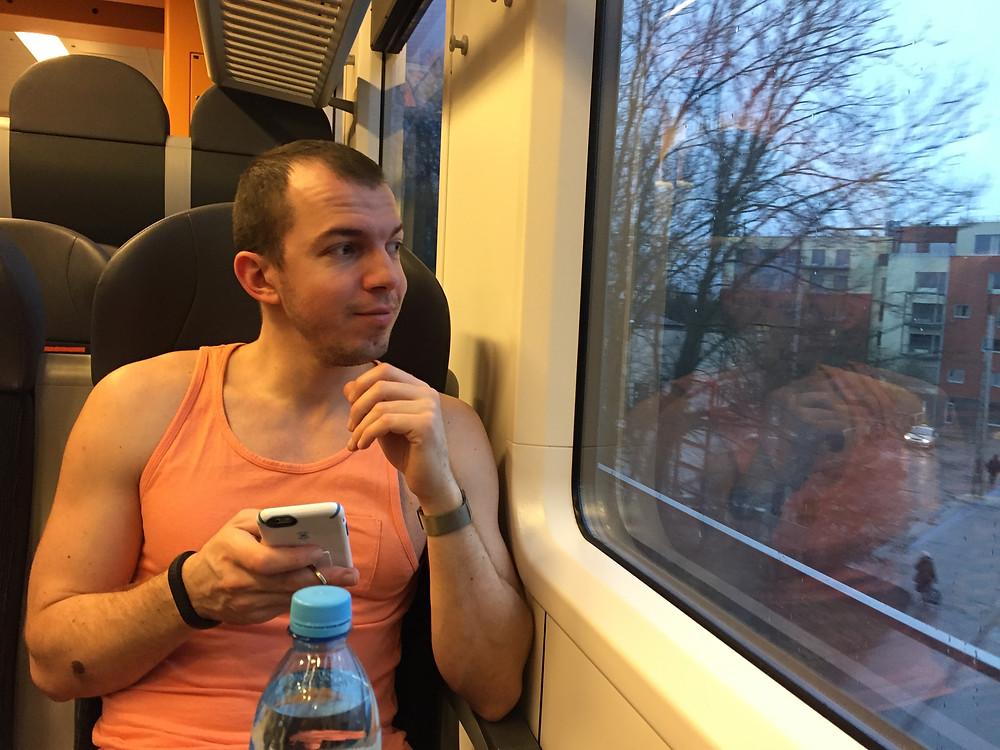 Sergei Veselov from Estonia rides the comfortable FLIRT Stadler train in Estonia.