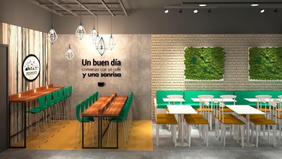 Diseño de Interior de Cafeteria Restaurante