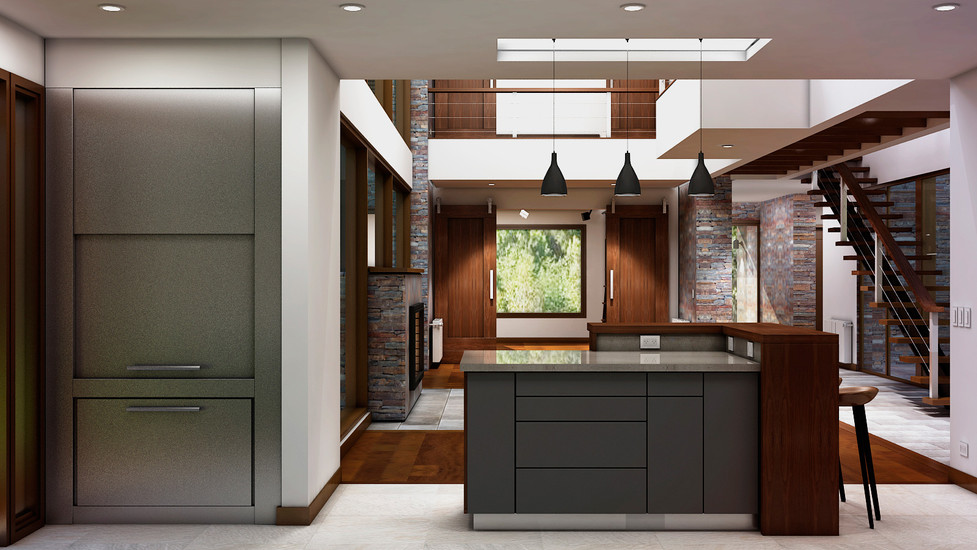 Diseño de Isla y Parrilla interior de acero inoxidable.