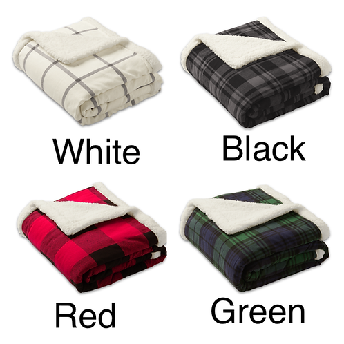 Personalized Flannel Sherpa Lined Blanket.