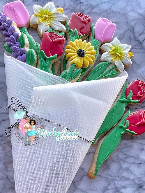 Assorted Flower Cookie Bouquet