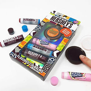 Read My Lips Hershey 4pc Lip Balms Reeses Peanut Butter Cups Jolly Rancher and Hersheys Kisses Flavoured Moisturising Lip Balm