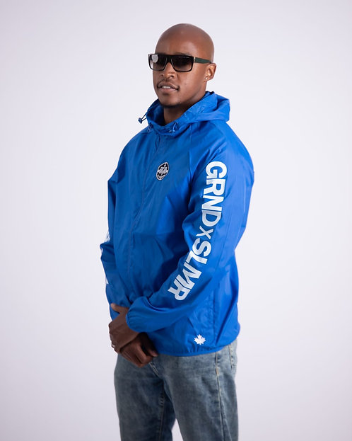 GRNDxSLMR ROYAL BLUE WINDBREAKER