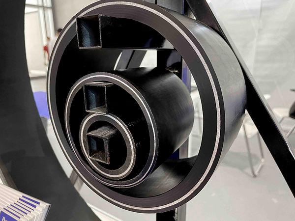 Fiberglass thermoplastic composite pipe.