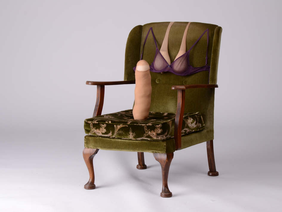 "Jodie K Maxwell, 'An Invitation to Sit Down Version VI' (2020) Chair, thread, stuffing, bra, nylon tights, rice and pins, 56"" x 31"" x 32.5"""