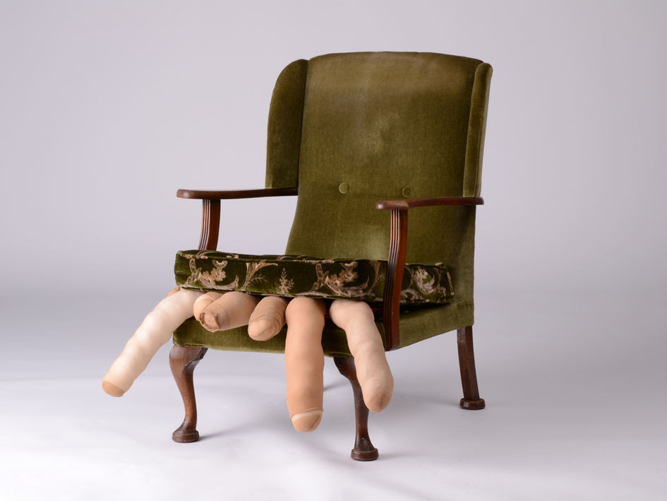 "Jodie K Maxwell, 'An Invitation to Sit Down' version II (2020) Chair, nylon tights and thread, 56"" x 31"" x 32.5"""