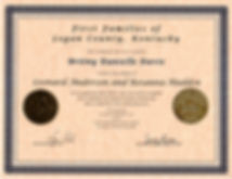 First Family of Logan Co., KY certificate
