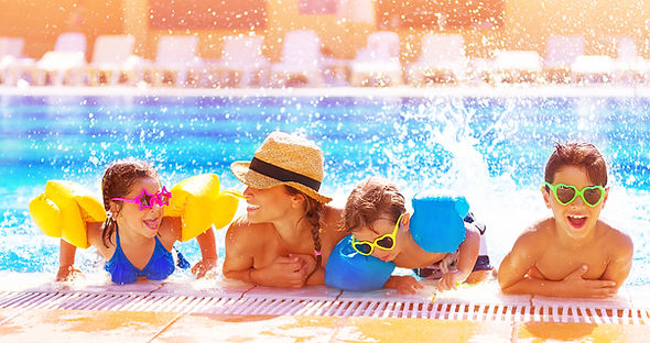 Children playing safely in a pool