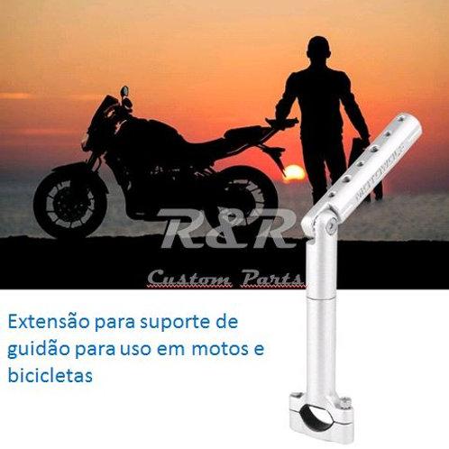 Extensão Prata Para Suporte Guidão Universal Bike Motos Gps Celular