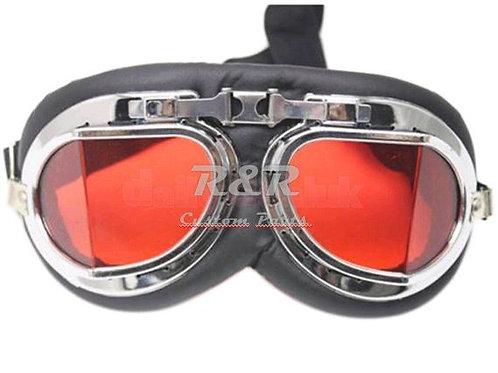 Óculos Motociclista Vintage Retro Preto/cromo Lente Vermelha