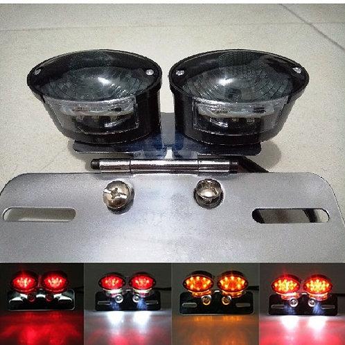 Lanterna Traseira Dupla + Piscas Led Moto Custom Bobber