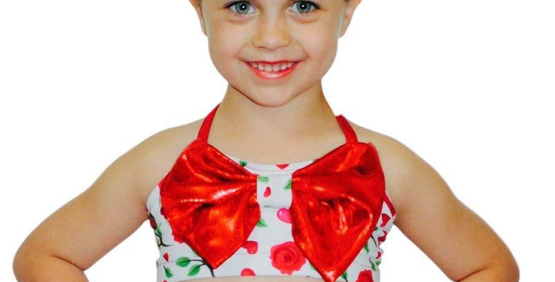 LUCY Red Rose Bow Top