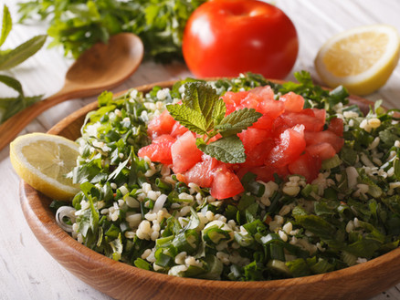 Herbed tabbouleh with red currants and wild spring greens