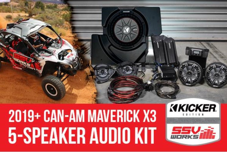 Maverick X3 2019 and up complete Kicker 5 speaker Plug-and-Play system