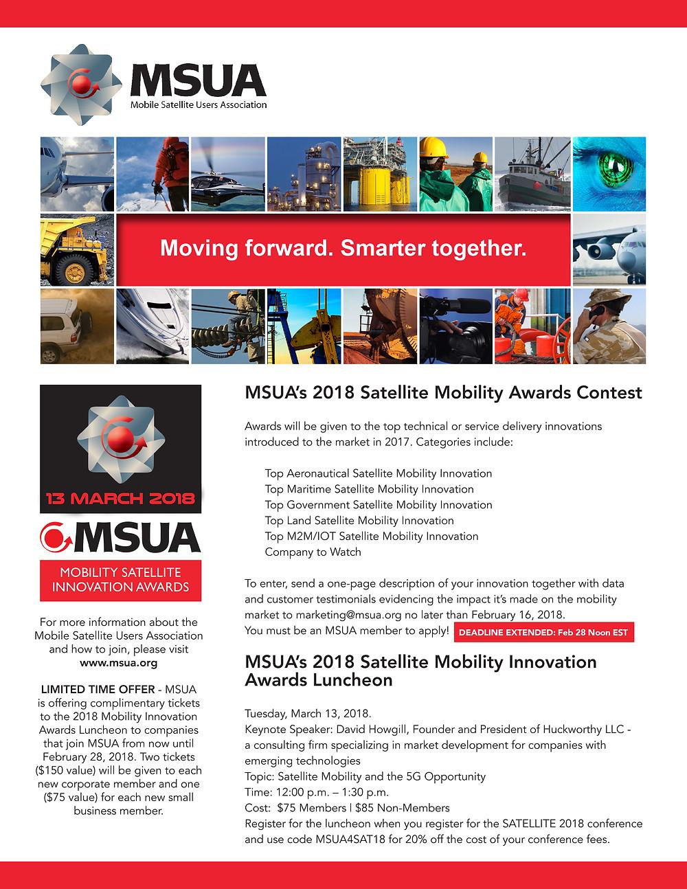 MSUA's 2018 Satellite Mobility Innovation Awards