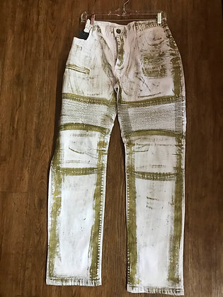 GoldLeaf White Jeans with Metallic Gold Slim Fit