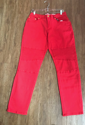 Solid Red Slim Fit Skinny Jeans