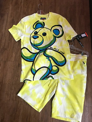 Black Pike Teddy Yellow Tie Dye Tee Shorts Set