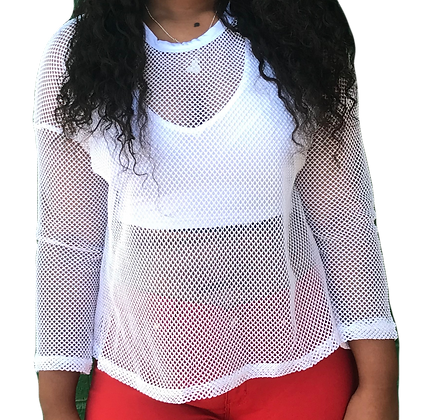 Fishnet Long Sleeve Mesh Racerback Top