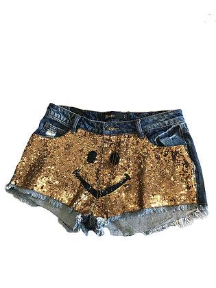 """""""Smiley"""" Denim Short Shorts"""