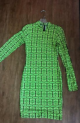 """Longsleeve Geometric""""I"""" Dress"""
