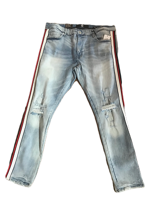 Blue Jeans with Red and White Trim