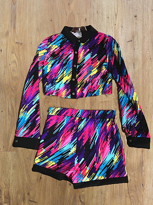 Longsleeve Buttondown Black Cuff Pink Purple Blue Shorts Set