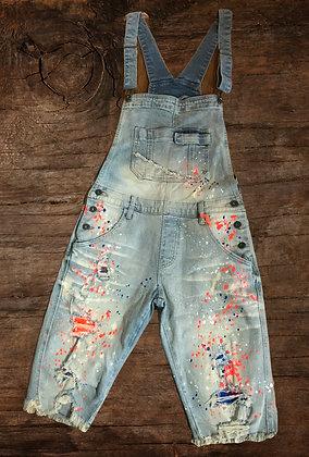 Splatterpaint Jean Shorts Overalls Orange Blue Fade Frayed Hem