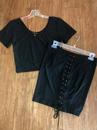 Solid Black Shirt and Tie-Up Skirt Set