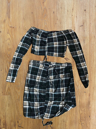 Black and Tan Plaid Longsleeve Top and Skirt Set