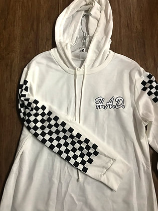 Checkered Longsleeve Pullover Hoodie Dress