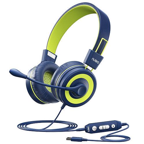 Nulaxy Kids Headphones with Microphone Blue