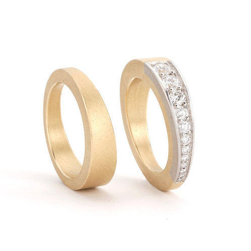 Gold and Diamond Wedge Ring Set