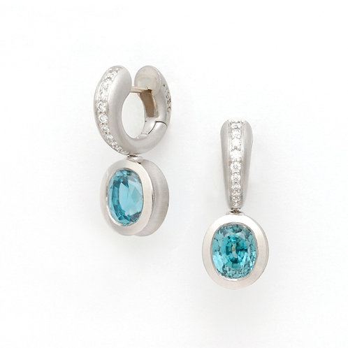 Platinum and Diamond Hoop with Blue Zircon Drop