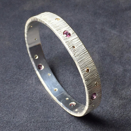 Rhodolite Garnet and Colored Diamond- Bangle in Sterling Silver