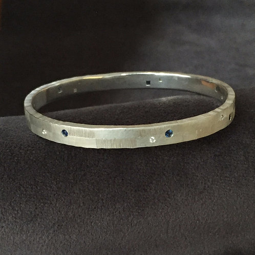 Sapphire and Diamond Bangle in Sterling Silver