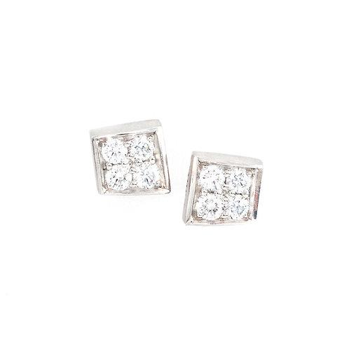 Square Wedge Diamond Stud Earring