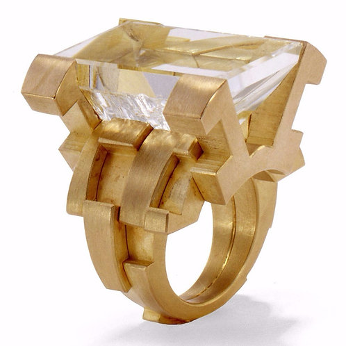 18k Gold and Rock Crystal Ring