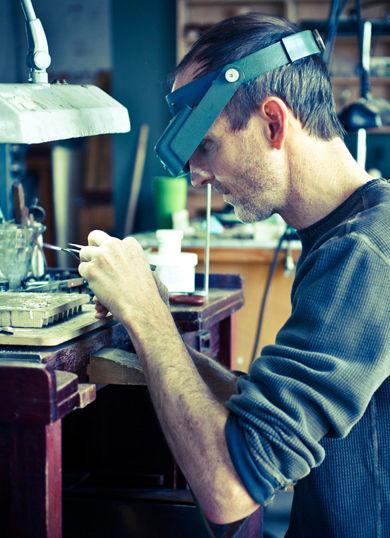 Stuart Cathey in workshop