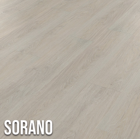 Sorano offers a white washed effect floor, popular in contemporary designs.  The subtle grain detailing is highlighted with grey and blue tones, giving the planks an authentic look.  The versatile colour works well with any room design. 1220 x 179mm (plank)