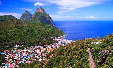Soufrere-Town-Pitons-In-Background-St-Lu