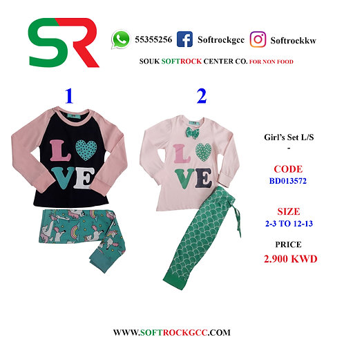 Girls  Pajama Set L/S