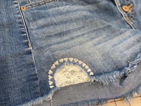 Decorative Stitching to Patch Denim