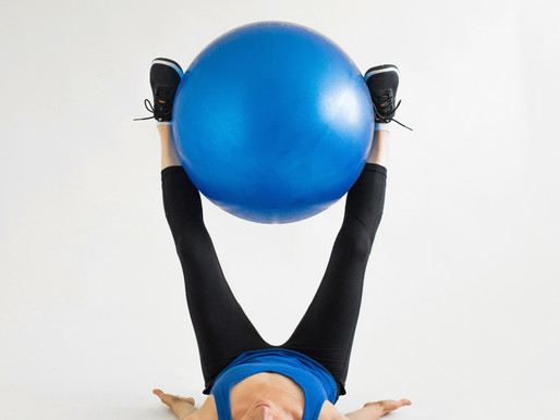 Working out at home and squeezing balls